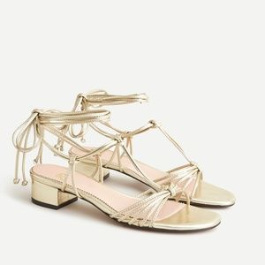 NEW ✨ J.Crew Florence T Strap Metallic Leather Gold Lace Up Sandal 7.5